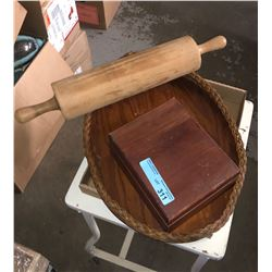 Rolling pin and miscellaneous wooden items