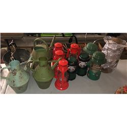 Vintage water jugs, antique hand tools and antique style lanterns