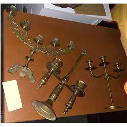 3 brass candelabras