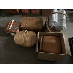 3 nice weaved baskets and 2 boxes of miscellaneous