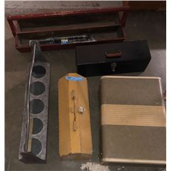 2 vintage tool boxes, 2 plant holders and a vintage suitcase