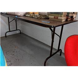4 Wood Stock Market/Folding Tables approx 5 ft long