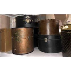 Shelf lot of vintage hat boxes and misc household