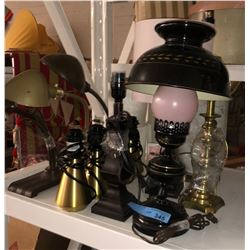 Shelf lot of vintage and assorted lamps