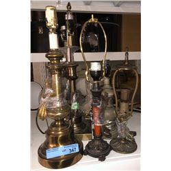 Shelf lot of lamps