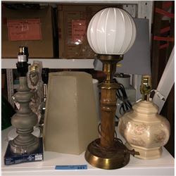 Shelf lot of vintage and other lamps