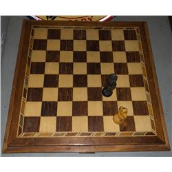 Wooden chess board, Chinese checkers and antique picture frame