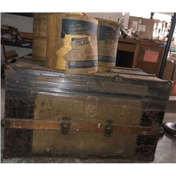 Antique chest and 3 rolls of Twine