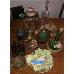 Shelf lot of misc antiques