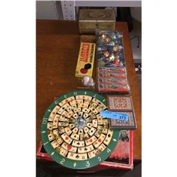 Assorted antique games, vintage marbles and misc.