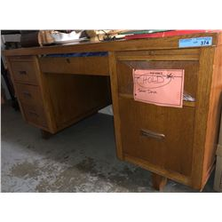 Antique solid wood teachers desk from the movie