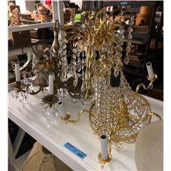 2 chandeliers, a shelf lot of lighting and glass lampshades