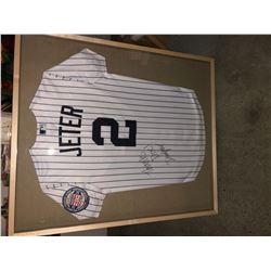 Signed and framed Derick Jeter jersey