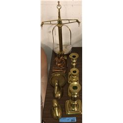 Table lot of brass, book ends, candle sticks and scales