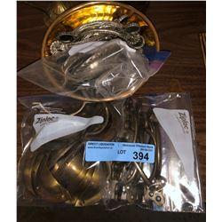 Brass bowls and misc metal door pulls