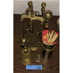 Assorted brass decor and fireplace items