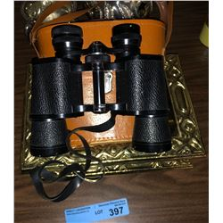 Heavy brass decor and vintage binoculars with case
