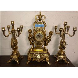 1 Brass clock and 2 Brass Candelabra