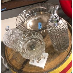 Glass punch bowl and assorted decor