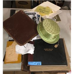 Lot of leather bound books and binders and misc ephemera