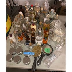 Vintage and other misc display bottles and hand mirror and brush