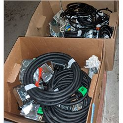 Boxes of junction boxes, electrical cords ceiling lights and misc