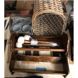 Table lot of misc and wicker animal cage