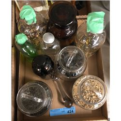 Box lot of glass containers