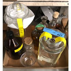 Box lot of glass jars and bottles