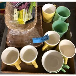 Two vintage jadeite coffee cups and assorted coffee cups and baskets