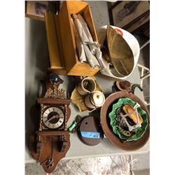 Shelf lot of misc including clocks and enamel bowls
