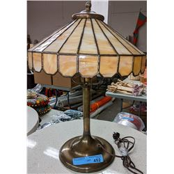 Unique Antique brass table lamp with glass shade