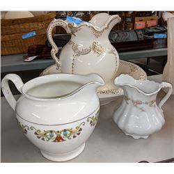3 Wash jugs and 1 wash bowl