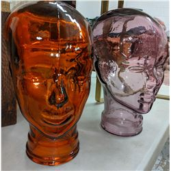 2 Glass display heads and one glass movie prop