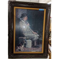 Vintage wooden frame with picture (approx. 3ft x 2ft.)