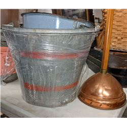 Vintage copper plunger and assorted metal pail