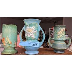 3 Roseville vases