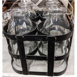 3 Antique milk bottle holders and bottles