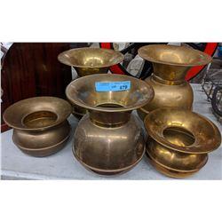 5 brass spittoons