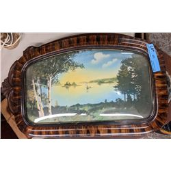 Antique scene frame and mirror and vintage table lamp