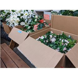 Approximately eight boxes of artificial plants