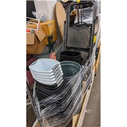 Rolling rack and three step stools and large lot of garbage cans