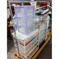 Rolling rack and lot of storage containers