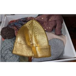 A box lot of beanies and a box lot of hats