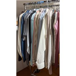 Half rack of clothing, long sleeve shirts and t-shirts including rack
