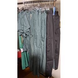 Half rack of scrubs approx 15 pieces including rack on wheels