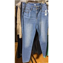Full rack of jeans sweaters dress pants trousers 35 pieces approx including Rock on wheels