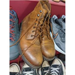 Approx 15 pairs of shoes including Converse sneakers boots runners joggers and one formal pair of sh