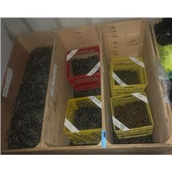 4x4x4' wooden container with assorted chains
