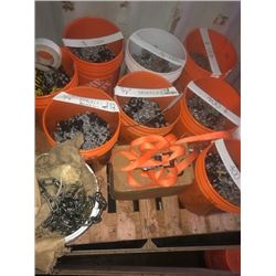Half pallet of shackles, chains, knuckles, assorted rigging clamps and Home Depot buckets